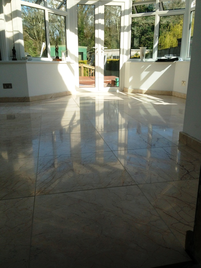 Re-Polished Crema Marble Tiles