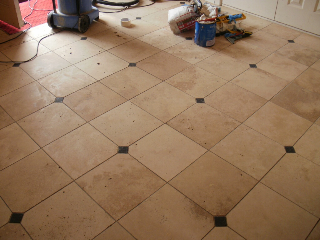 Travertine Tiled Floor Sandbanks Before Cleaning