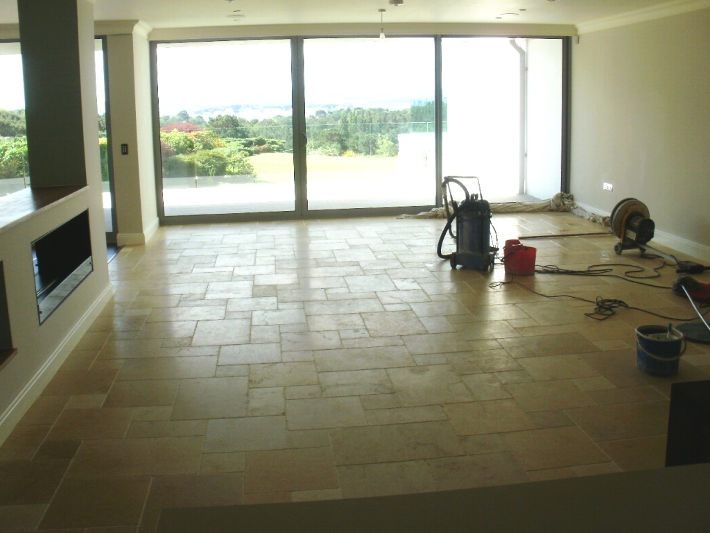 Limestone Tiled Floor Canford Cliffs Before