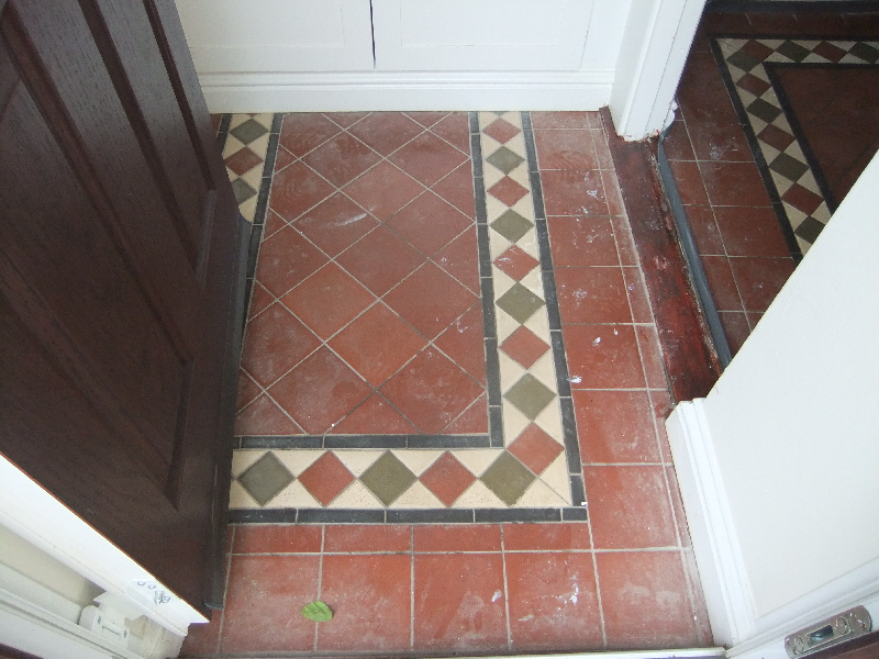 Reproduction Victorian Tiled Floor Before Cleaning