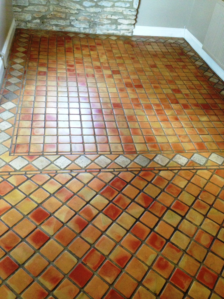 Terracotta Tile Before Cleaning