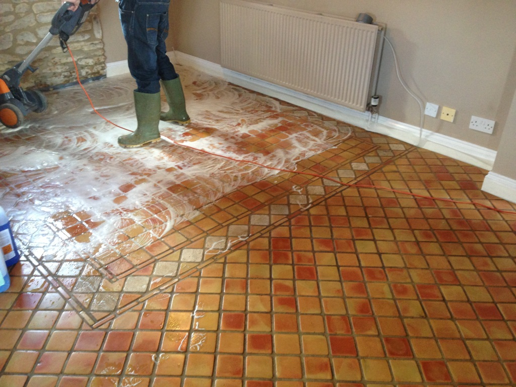 Terracotta Tile During Cleaning
