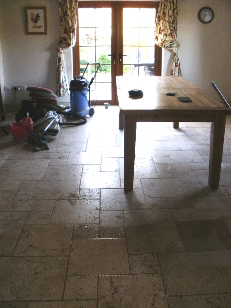 Tumbled Marble in Dewlish Before Cleaning