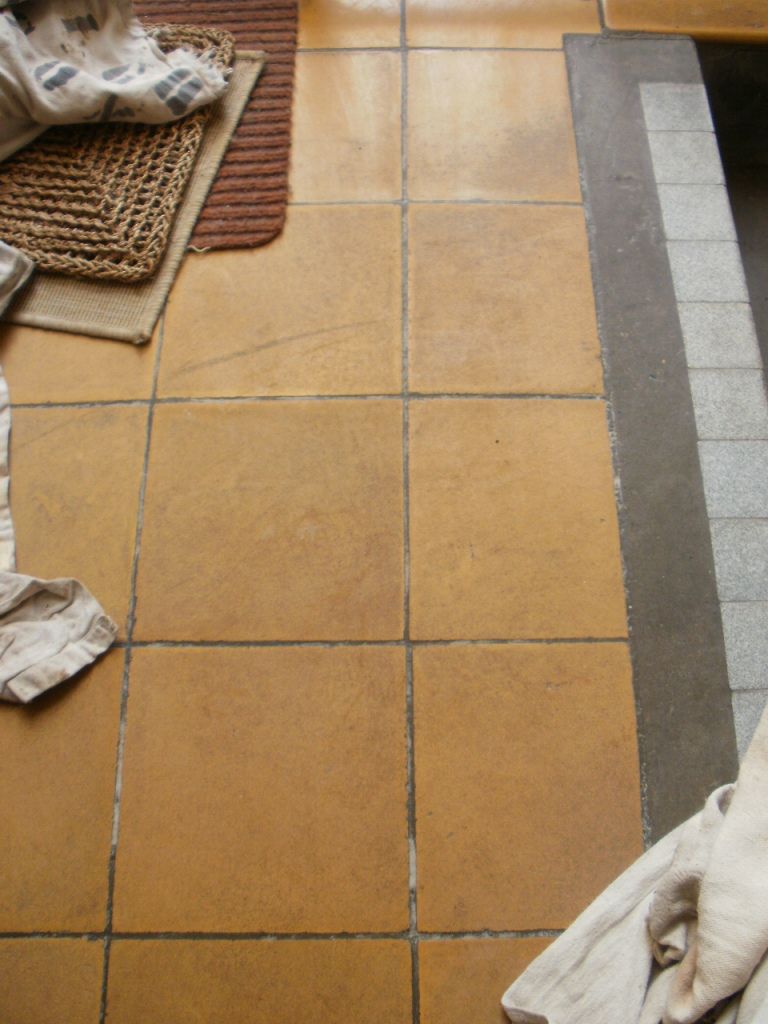 Cleaning old yellow ceramic floor tiles in poole dorset tile doctor yellow ceramic tiles before cleaning in poole dailygadgetfo Choice Image