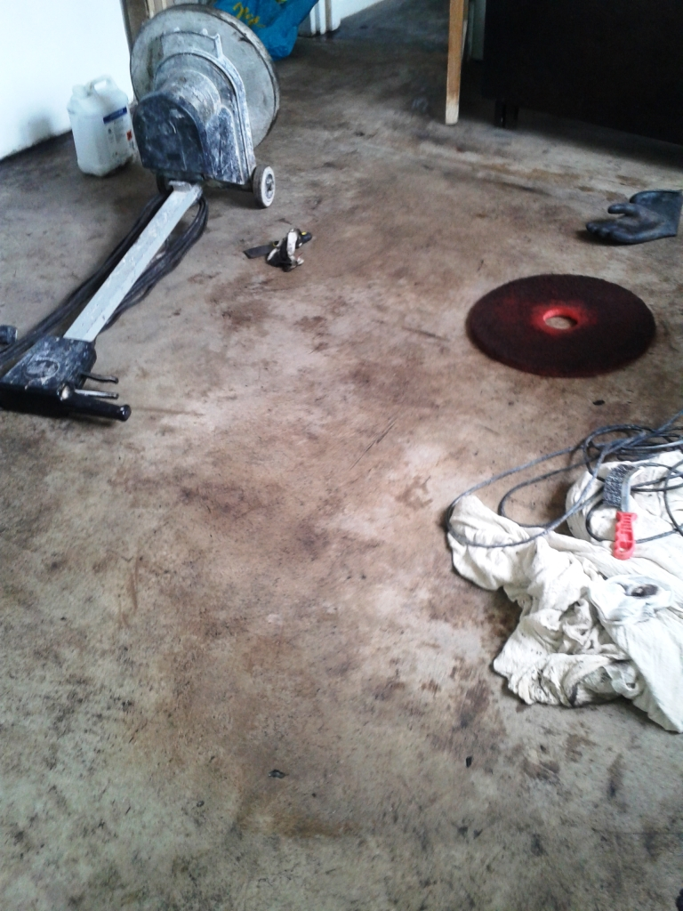 Cleaning up concrete floor covered in bitumen tile for What to clean concrete with