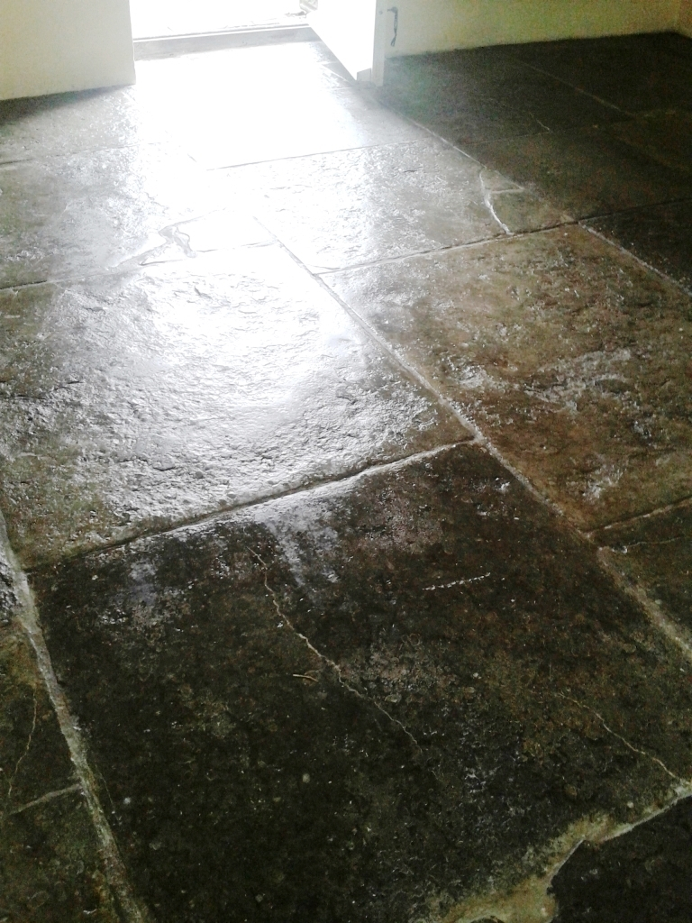 Portland Limestone Tiled Floor After Sealing Weymouth