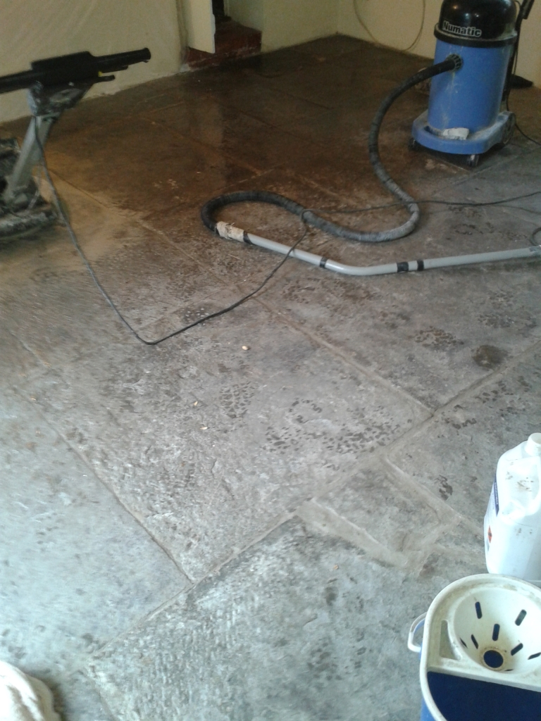 Portland Limestone Tiled Floor Before Cleaning Weymouth
