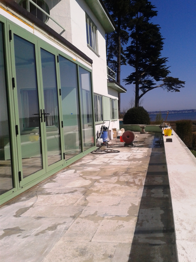 Portland limestone patio round island during