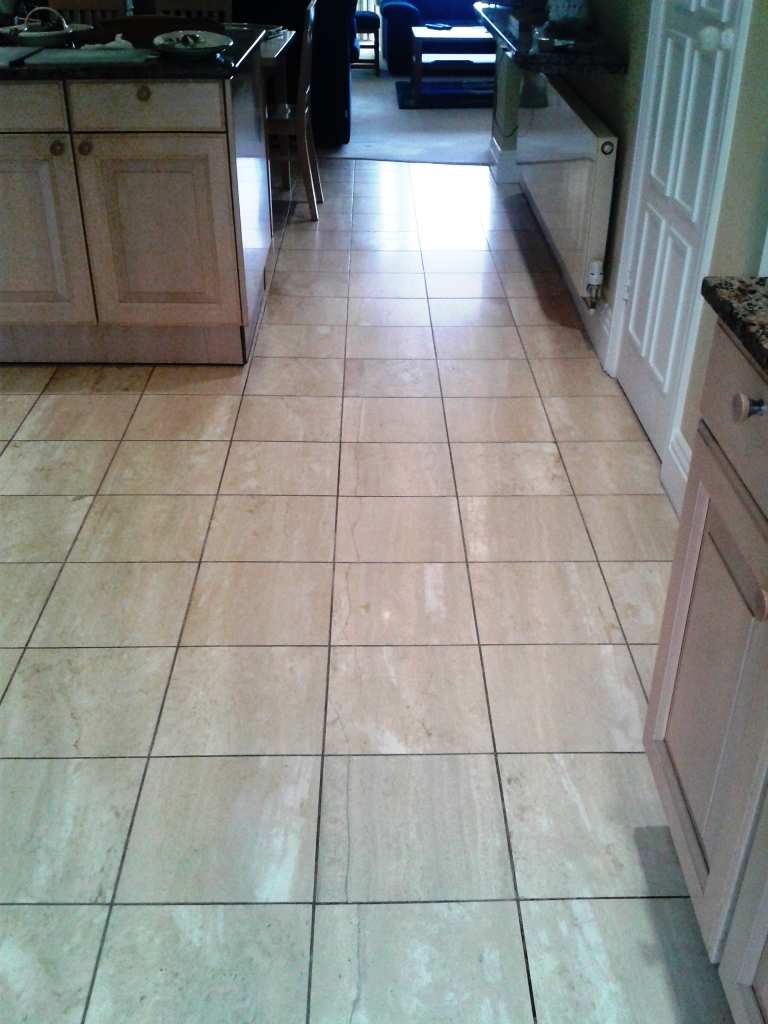 Travertine tiled floor after cleaning in Sandbanks