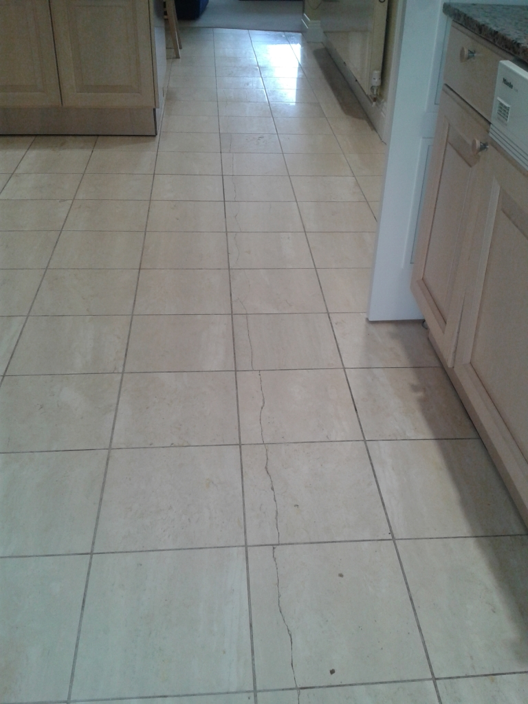 Travertine tiled floor before cleaning in Sandbanks