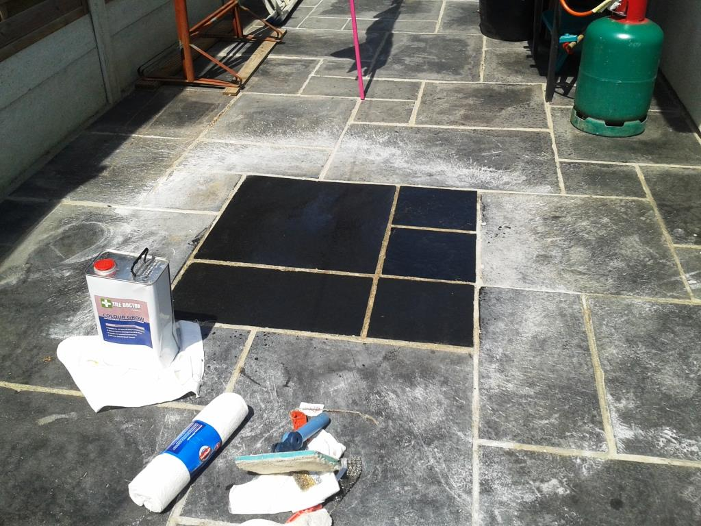 Exceptionnel Black Limestone Patio Test Clean Patch In Broadstone
