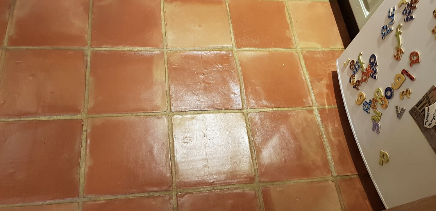 Terracotta Tiled Floor After Cleaning and Sealing Poole