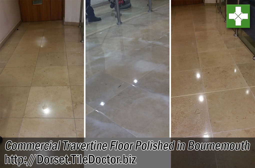 Commercial Travertine Tiled Floor Before and After Polishing Bournemouth