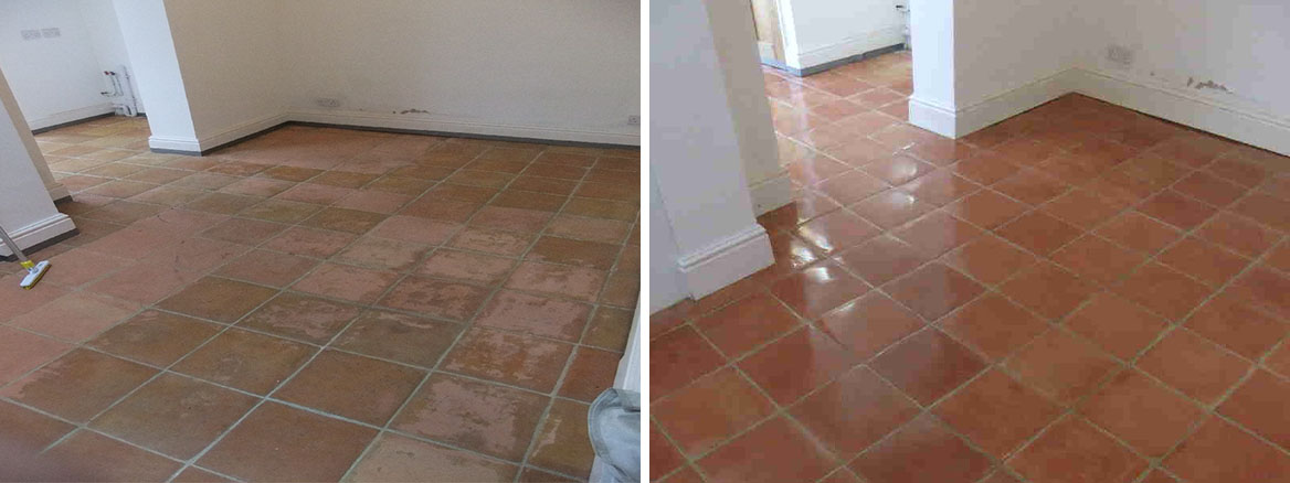 Cleaning Terracotta Tiles Marked With Dirty Boot Prints