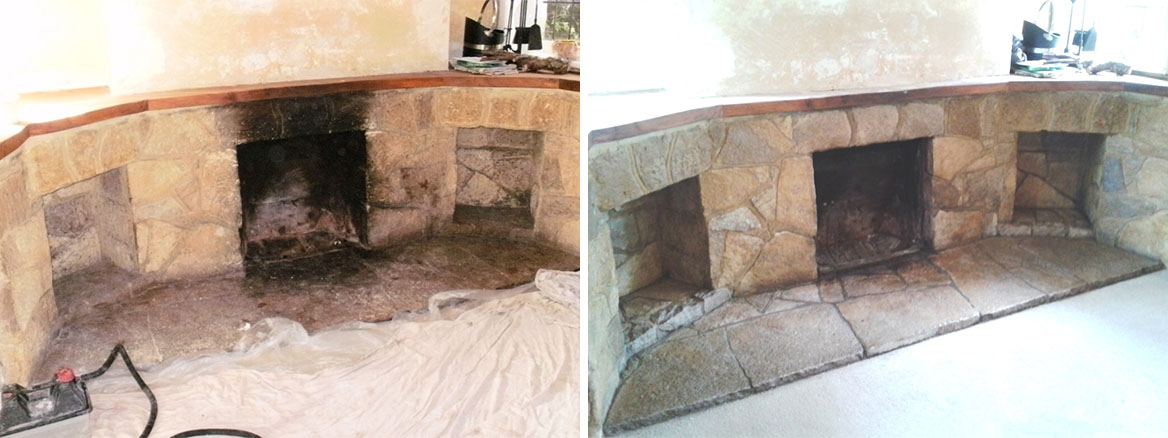 Cleaning a Stone Fireplace in Canford Cliffs