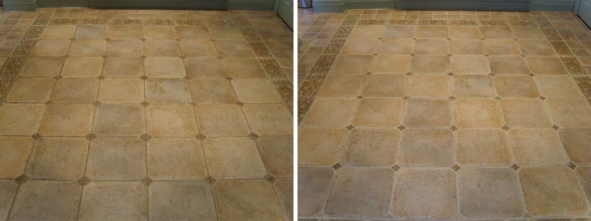 Removing Varnish from Porcelain stone effect tiles in Dorset