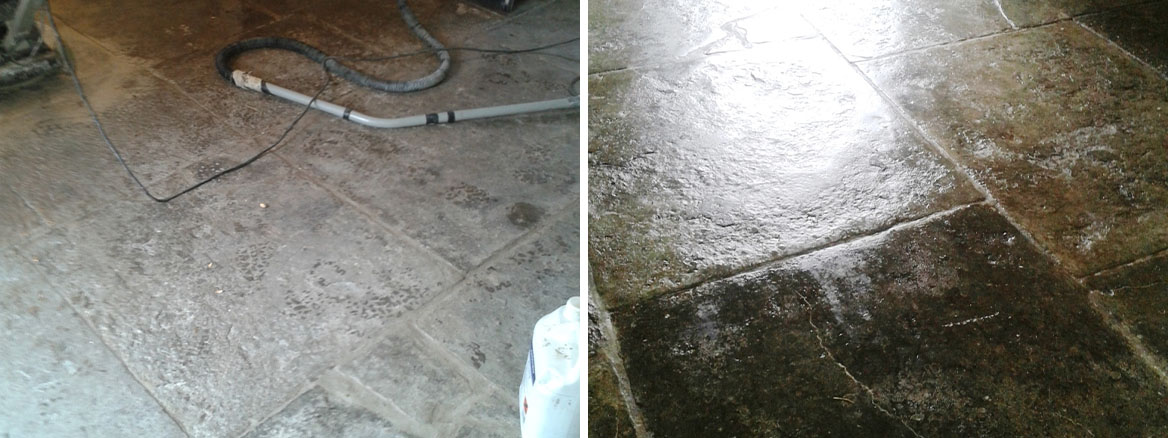 Old Black Portland Limestone Flagstones restored in Weymouth
