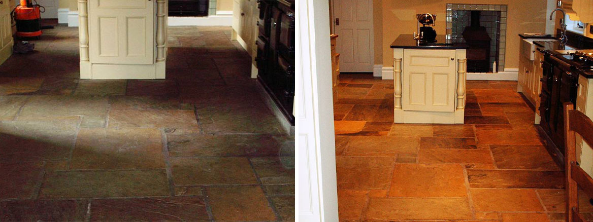Cleaning and Sealing a Dirty Sandstone Tiled Floor in Dorset