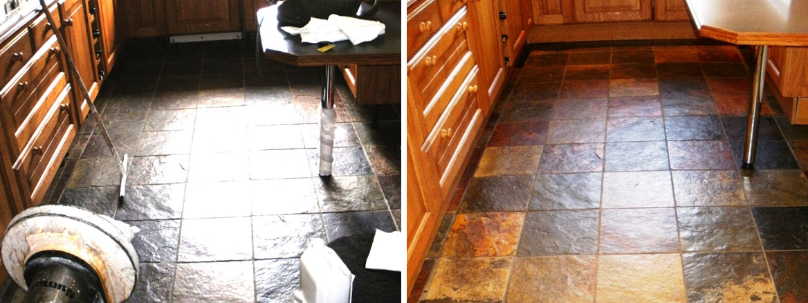 Cleaning and Sealing Shell Slate Kitchen Tiles in Lytchett Minster