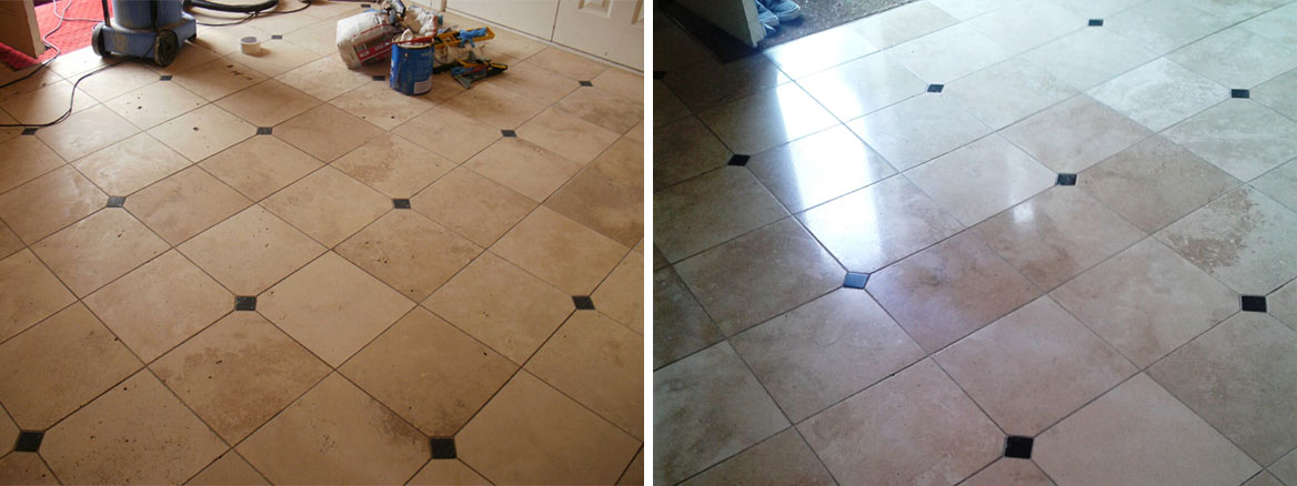Cleaning a Travertine tiled hallway in Sandbanks