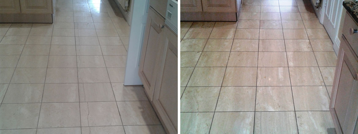 Repairing and Sealing a cracked Travertine tiled floor in Sandbanks, Poole