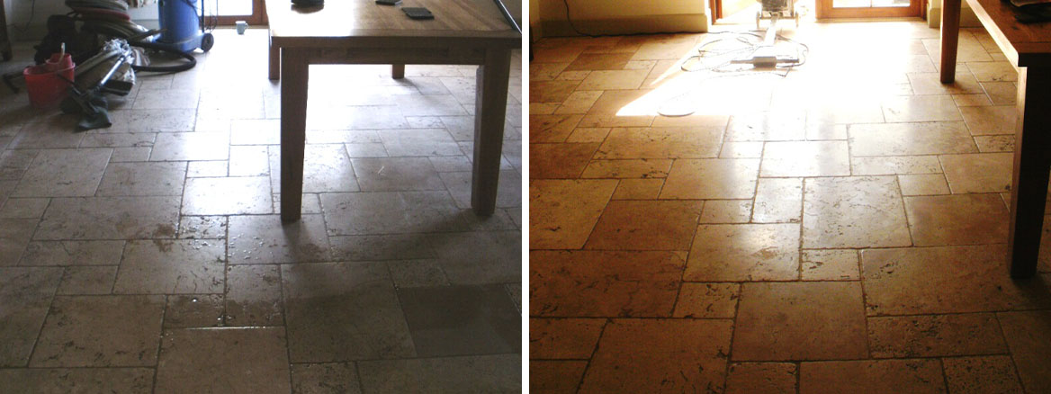Cleaning a Tumbled Marble floor in Dewlish near Dorchester