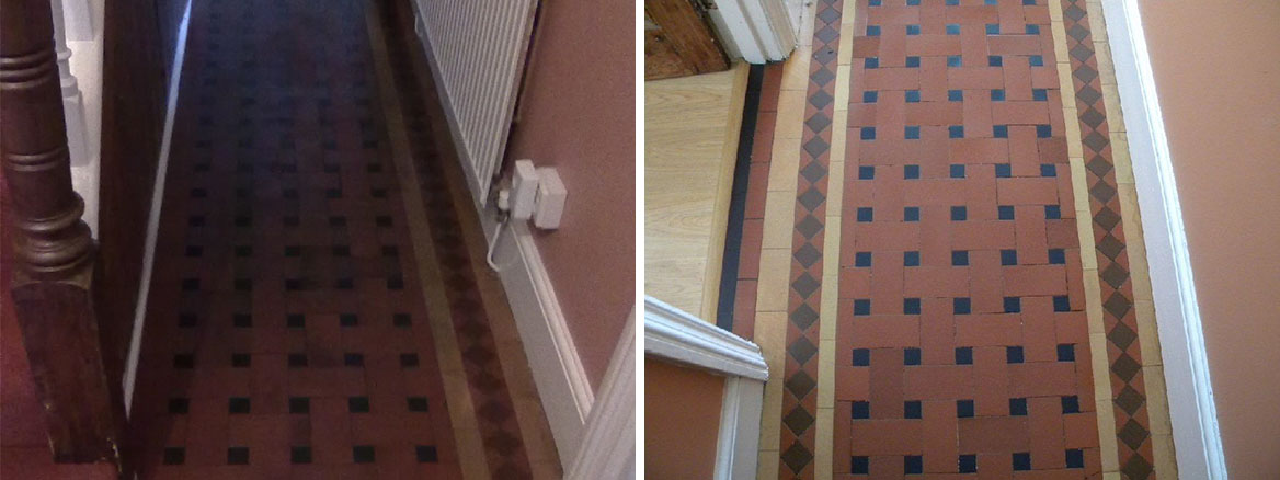 Victorian Tiled Floor hidden under Carpet restored