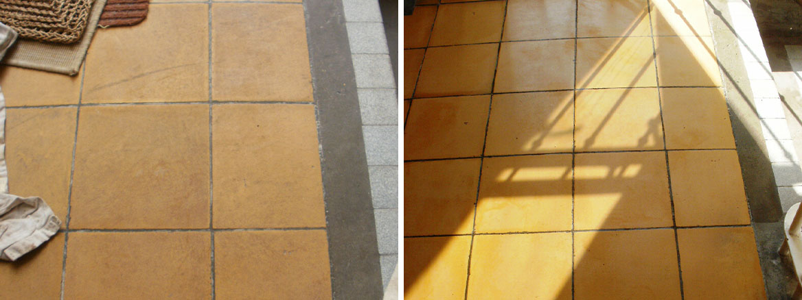 Cleaning old Yellow Ceramic Floor tiles in Poole